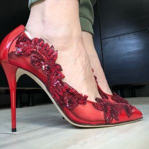 Oscar de la Renta Shoes - Red Patent Leather Embellished Pumps